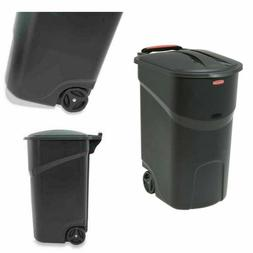 Wheeled Trash can 45 Gallon Outdoor Plastic Waste Bin Basket