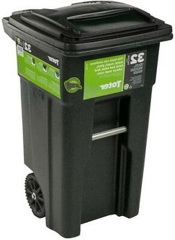 Toter Wheeled Trash Can 32 Gal Black Granite