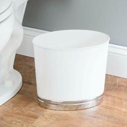 White Bathroom Garbage Can Oval Slim Plastic Small Wastebask