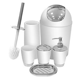 White Bathroom Accessories Set 6 Pieces Plastic Bathroom Acc