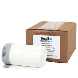 Plasticplace 4 Gallon White Drawstring Garbage Bags, 100 Cou