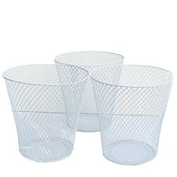 White Wire Mesh Waste Basket No Lid , Set of 3 Wastebasket