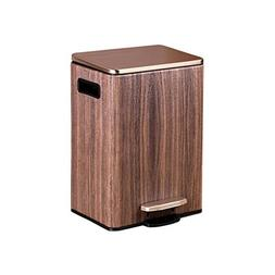 DDSS Wood Grain Stainless Steel Pedal Trash Can Living Room