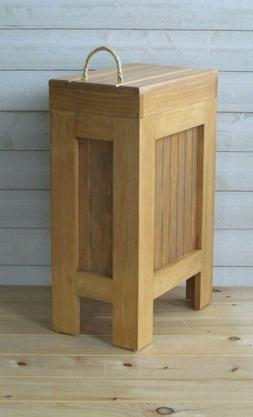 Wood Trash Can, Kitchen Garbage Can,Rustic Wood Trash Bin, H