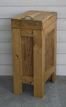 BuffaloWood Shop Wood Trash Bin Kitchen Trash Can Wood Trash