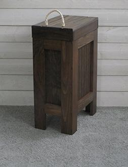Wood Wooden Trash Bin Kitchen Garbage Can 13 Gallon, Recycle