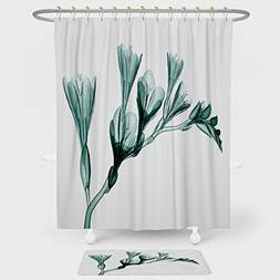 Xray Flower Shower Curtain And Floor Mat Combination Set X r