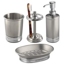 InterDesign York Metal Bath Accessory Set, Soap Dispenser Pu